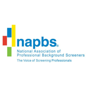 """napbs, National Association of Professional Background Screeners Logo. """"The Voice of Screening Professionals"""" text under logo."""